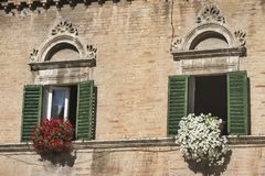 Ascoli Piceno Maszeruje, Włochy, piazza Del Popolo przy rankiem Fotografia Royalty Free