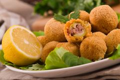 Ascoli stuffed olives. Royalty Free Stock Images