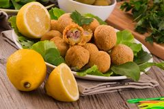 Ascoli stuffed olives. Stock Images