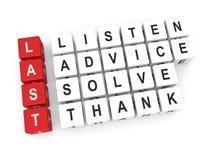 Ascolta il consiglio risolve ringrazia Immagini Stock