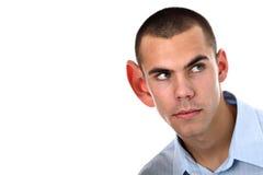 Ascoltando con il grande orecchio isolato su bianco Immagini Stock Libere da Diritti