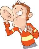 Ascoltando con la mano l'illustrazione di vettore dell'orecchio Immagine Stock Libera da Diritti