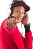 Ascoltando la musica, l$signor DJ Immagini Stock