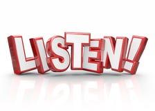 Ascoltano le informazioni importanti rosse dell'attenzione di paga delle lettere di parola 3d Immagine Stock