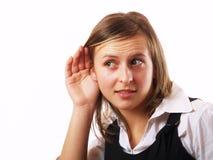 Ascolto della donna Immagine Stock