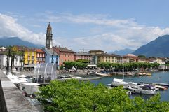 Ascona на Lago Maggiore известно для туриста стоковые изображения rf