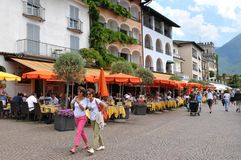 Ascona на Lago Maggiore известно для туристов стоковое изображение