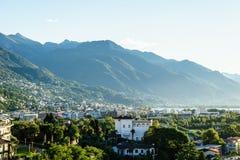 Ascona Aerial, Switzerland. Aerial view of Ascona city in the canton of Ticino, Switzerland royalty free stock photos