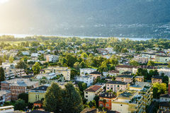 Ascona Aerial, Switzerland. Aerial view of Ascona city in the canton of Ticino, Switzerland. Photo taken on: April 08th, 2014 royalty free stock photo