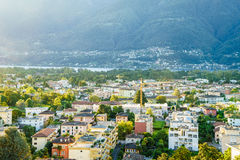 Ascona Aerial, Switzerland. Aerial view of Ascona city in the canton of Ticino, Switzerland. Photo taken on: April 08th, 2014 stock photo