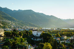 Ascona Aerial, Switzerland. Aerial view of Ascona city in the canton of Ticino, Switzerland. Photo taken on: April 08th, 2014 royalty free stock photos