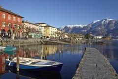 Ascona (die Schweiz) - Bucht von Ascona Lizenzfreie Stockfotos