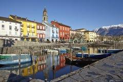 Ascona (die Schweiz) - Bucht von Ascona Stockfoto