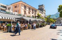 Ascona ha individuato sulla riva del lago Maggiore, il Ticino, Svizzera Fotografie Stock Libere da Diritti