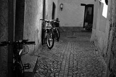 Ascona. Lake Maggiore Lombardia lake city summer country street alley  lamp bicycle Royalty Free Stock Image