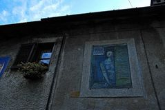 Ascona. Lake Maggiore Lombardia lake city summer country street alley window painting Stock Images