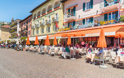 Ascona lokaliserade på kusten av sjön Maggiore, Ticino, Schweiz Arkivbild