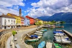 Ascona miasteczko na Lago Maggiore, Szwajcaria Zdjęcia Royalty Free