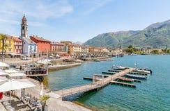 Ascona na brzeg Jeziorny Maggiore Zdjęcia Stock