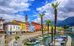Ascona old town on Lago Maggiore, Switzerland. Ascona Old Town, Switzerland, is a popular tourist destination on Lago Maggiore in Alps Mountains stock images