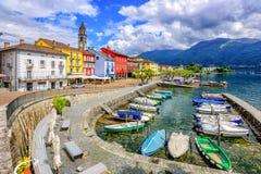 Ascona old town, Lago Maggiore, Switzerland. Ascona Old Town and port on Lago Maggiore lake in swiss Alps mountains, Switzerland royalty free stock photos