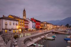 Ascona Old Town and port on Lago Maggiore lake in swiss Alps mountains. Switzerland stock image