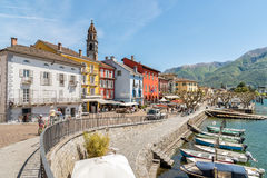 Ascona op de kust van Meer Maggiore Royalty-vrije Stock Afbeelding