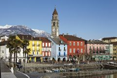Ascona (Suiza) - bahía de Ascona Fotografía de archivo libre de regalías