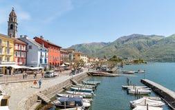 Ascona sulla riva del lago Maggiore Fotografia Stock Libera da Diritti