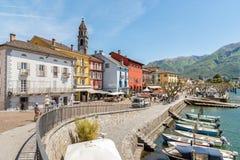 Ascona sulla riva del lago Maggiore Immagine Stock Libera da Diritti