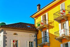 Ascona, Switzerland - August 23, 2016: Houses at the luxurious resort in Ascona on Lake Maggiore, Ticino canton in Switzerland. Ascona, Switzerland - August 23 royalty free stock images