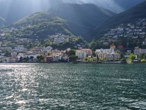 ASCONA travel city in SWITZERLAND with scenic view of Lake Maggiore Stock Photo