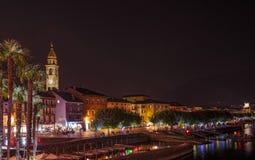 Ascona Waterfront Panorama. Of illuminated street and architecture royalty free stock image