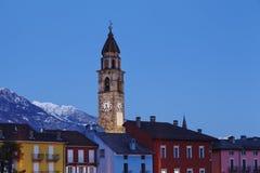 Ascona (Zwitserland) - Baai in de avond Royalty-vrije Stock Fotografie