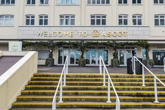 Ascot Horse Racecourse Building Entrance. Ascot, England - March 17, 2019: Street view of the entrance of the iconic British Ascot racecourse building, known for stock image