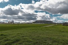 Ascot Horse Racecourse. Ascot, England - March 17, 2019: View of the iconic British Ascot racecourse heath, known for its horse racing stock images
