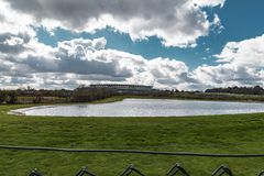 Ascot Horse Racecourse. Ascot, England - March 17, 2019: View of the iconic British Ascot racecourse heath, known for its horse racing royalty free stock images