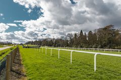 Ascot Horse Racecourse. Ascot, England - March 17, 2019: View of the iconic British Ascot racecourse heath, known for its horse racing royalty free stock photography