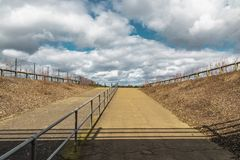 Ascot Horse Racecourse Heath. Ascot, England - March 17, 2019: View of the iconic British Ascot racecourse heath, known for its horse racing royalty free stock image
