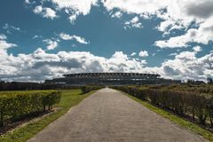 Ascot Horse Racecourse Heath. Ascot, England - March 17, 2019: View of the iconic British Ascot racecourse heath, known for its horse racing royalty free stock photo