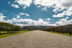 Ascot Horse Racecourse Heath. Ascot, England - March 17, 2019: View of the iconic British Ascot racecourse heath, known for its horse racing stock photo
