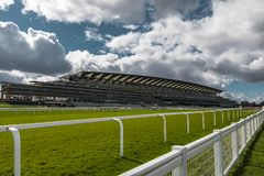 Ascot Horse Racecourse Heath. Ascot, England - March 17, 2019: View of the iconic British Ascot racecourse heath, known for its horse racing royalty free stock photography