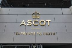 Ascot Horse Racecourse Heath Entrance. Ascot, England - March 17, 2019: Street view of the entrance of the iconic British Ascot racecourse heath, known for its stock image