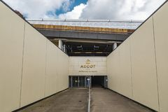Ascot Horse Racecourse Heath Entrance. Ascot, England - March 17, 2019: Street view of the entrance of the iconic British Ascot racecourse heath, known for its royalty free stock image