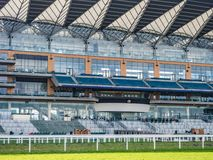 Ascot Racecourse, Ascot, Berkshire, England - February 2019 View of the stand including the Royal Box at Ascot Racecourse. Ascot Racecourse, Ascot, Berkshire stock photography