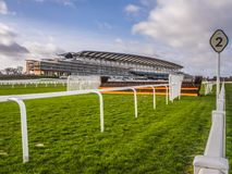 Ascot Racecourse, Ascot, Berkshire, England - February 2019 View of course and Grandstand. Ascot Racecourse, Ascot, Berkshire, England - February 2019 View of stock photography