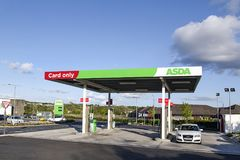 Asda Petrol Station. Swansea, UK: May 22, 2016: A self-service petrol station at an Asda supermarket. Asda Stores Limited is an American-owned, British-founded royalty free stock images
