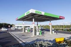 Asda Petrol Station. Swansea, UK: May 22, 2016: A self-service petrol station at an Asda supermarket open 24-7 stock photography