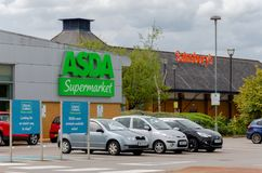 Asda and Sainsbury`s neighbouring supermarkets in Flint Royalty Free Stock Images