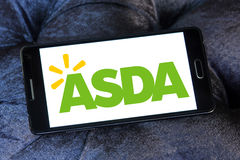 Asda stores logo. Logo of the international chain of convenience stores asda on samsung mobile phone a5 Stock Photo